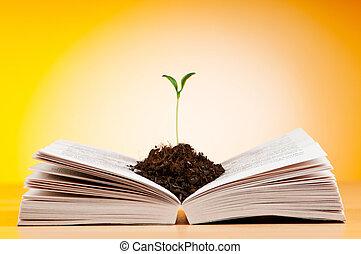 conocimiento, concepto, con, libros, y, plantas de semilla