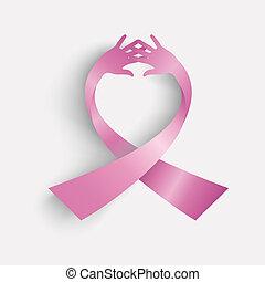 conocimiento de cáncer de mama, ribbonsymbol, hecho, con, humano, hands., eps10, vector, archivo, organizado, en, capas, para, fácil, editing.