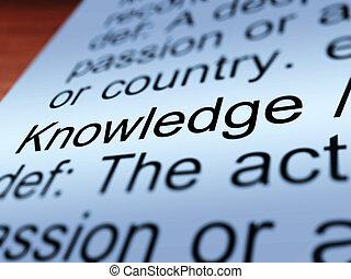 conocimiento, definición, primer plano, actuación, educación