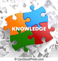 conocimiento, en, multicolor, puzzle.