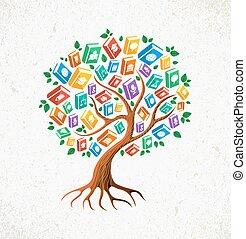conocimiento, y, educación, concepto, árbol, libros