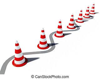 conos, cg, tráfico, entrar, no, 3d