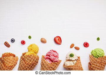 conos, colorido, hielo, vario, fruits, crema