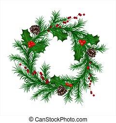 conos del abeto, guirnalda, aislado, navidad, tradicional, ...