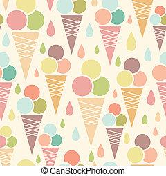 conos, patrón, seamless, hielo, plano de fondo, crema