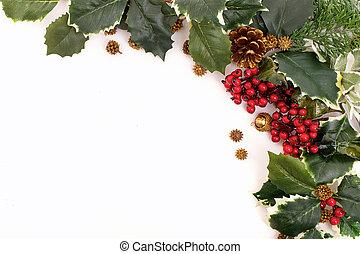 conos, pino, arreglo, decoración, bayas, navidad, acebo
