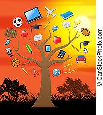 conoscenza, albero, 3d, illustrazione, saggezza, educazione, mostra