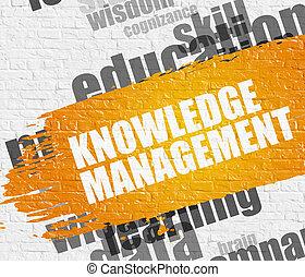 conoscenza, amministrazione, su, mattone, wall.
