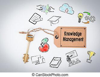 conoscenza, management., chiave, su, uno, sfondo bianco