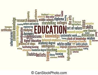 conoscenza, parola, etichetta, educazione, nuvola, cultura