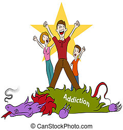 Conquering Addiction - An image of a family conquering ...