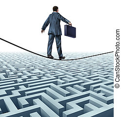 Conquering adversity and rising above a challenge as a businessman with a briefcase on a tightrope walking above a complex maze obstacle as an innovative risk solution to find financial success.