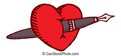 Cartoon illustration of a love heart crossed by a fountain pen
