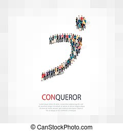 conqueror people symbol - Isometric set of styles, conqueror...