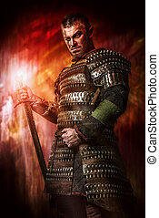 conqueror - Portrait of a courageous ancient warrior in...