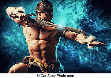 conqueror - Portrait of a handsome muscular ancient warrior...
