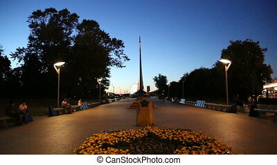 Conquerors of Space Monument (Night view) in the park...