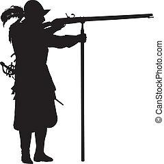 Conquistador. Warriors Theme - Conquistador with musket...