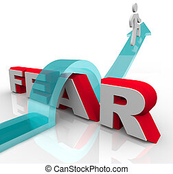conquistar, su, miedos, -, el saltar encima, palabra, a,...