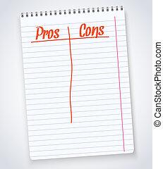 cons, pros, notepad, spiraal, illustratie, vrijstaand, ...