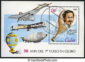 consacré, équipé, 1983, série, cuba, timbre, bicentenary, ...
