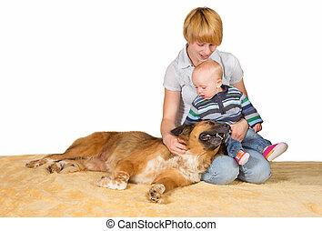 consacré, bébé, chien, famille, maman