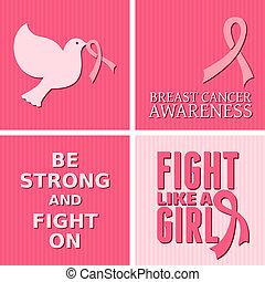 consciência câncer peito, cartões, colle