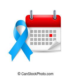 consciência, calendário, fita, azul