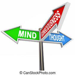 conscience, esprit, trois, principes, pensée, flèche, signes