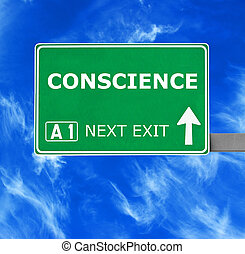 CONSCIENCE road sign against clear blue sky