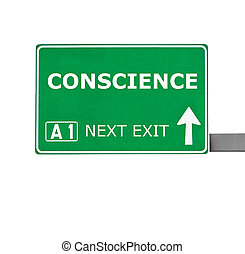 CONSCIENCE road sign isolated on white