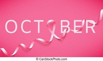 conscience sein, réaliste, cancer, ribbon., mois, symbole national, rose, octobre, animation