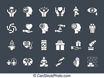 Conscious Living and Friends Relations Glyph Related Icons ...