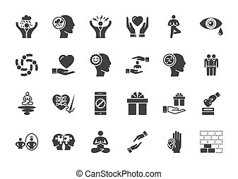 Conscious Living and Friends Relations Glyph Related Icons...