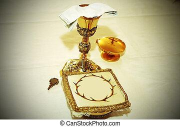 consecrated, 聖杯, 教会, キリスト教徒, 金, ホスト