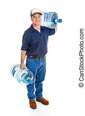 consegna, acqua, portante, uomo
