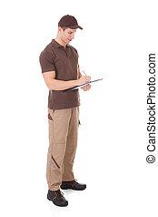 consegna, appunti, giovane, scrittura