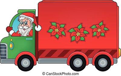 consegna, automobile, immagine, 1, tema, natale