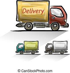 consegna, automobile, set