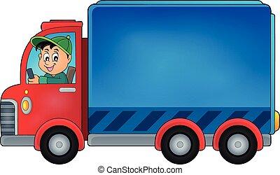 consegna, automobile, tema, 1, immagine