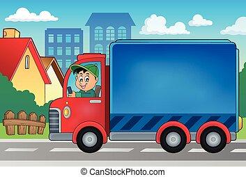 consegna, automobile, tema, immagine, 3