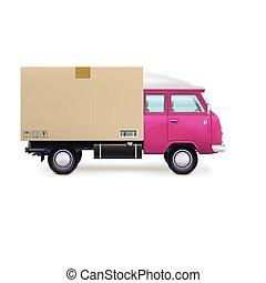 consegna, bianco, furgone, isolato
