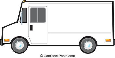 consegna, bianco, furgone