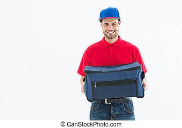 consegna, borsa, pizza, presa a terra, uomo
