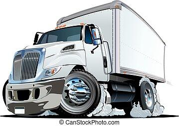 consegna, camion carico, cartone animato, o