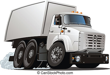 consegna, camion carico, cartone animato, /