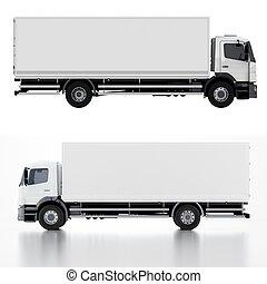 consegna, camion carico, /