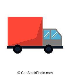consegna, camion carico, veicolo
