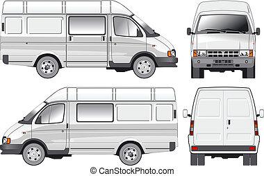 consegna, carico, furgone, /, passeggero