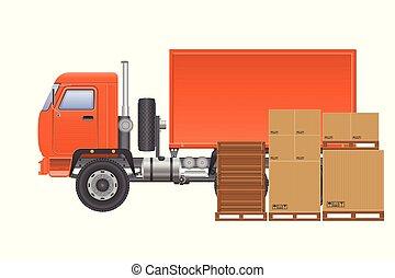 consegna, carico, vettore, camion, illustration.